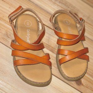 Toddler Girl Shoes Size 6 Brown Strap Sandals